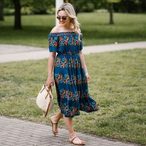 Off Shoulder Midi Smocked Dress with Flowers